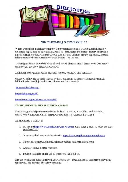 Wirtualna biblioteka - NIE ZAPOMNIJ OCZYTANIU !!!