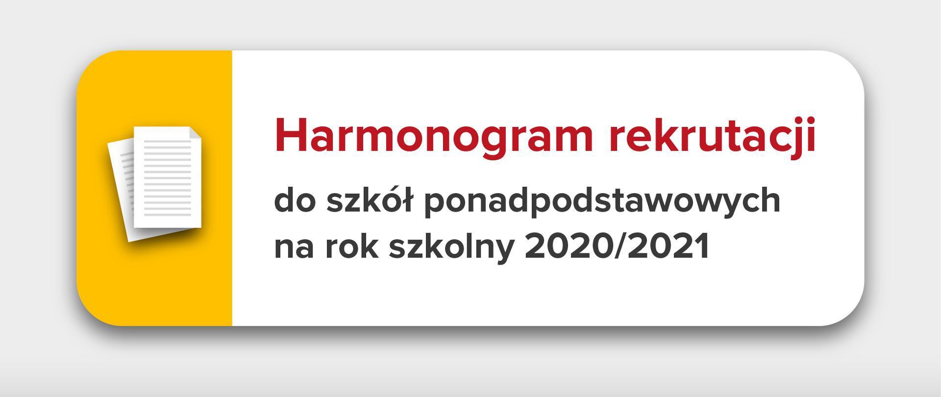 Harmonogram rekrutacji do szkół ponadpodstawowych.