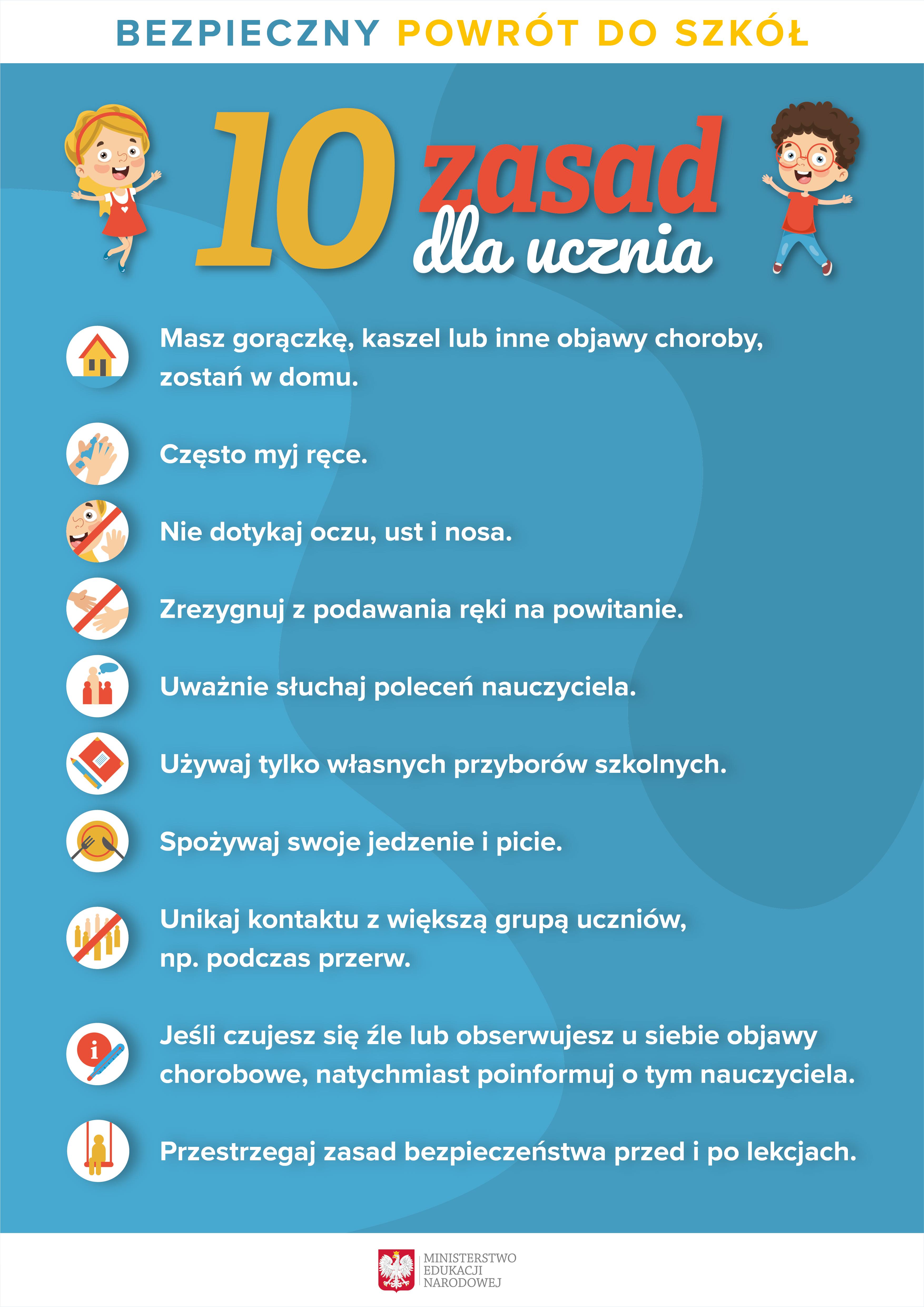 10 zasad bezpieczeństwa dla ucznia!